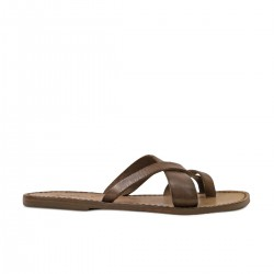 Women's leather thong sandals Handmade in Italy in mud cuir leather