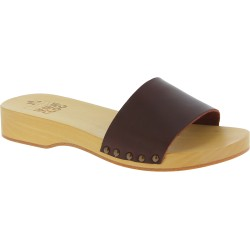 Handmade men's clogs with dark brown leather band