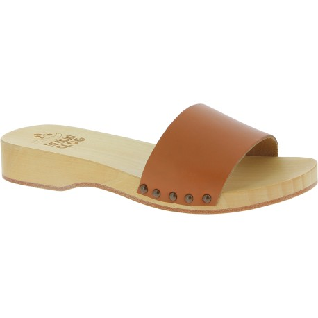 Handmade wooden clogs for men with tan leather band