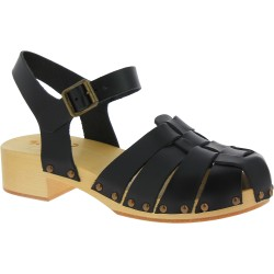 Handmade wooden clogs for women with black leather cage upper