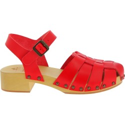 Handmade women's clogs with red leather cage upper
