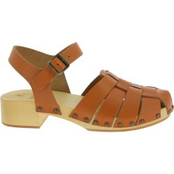 Women's clogs with tan leather cage upper Handmade