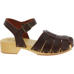 Women's clogs with dark brown leather cage upper Handmade