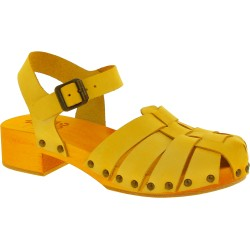 Yellow women's clogs with leather cage upper Handmade