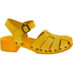 Gelb Holzclogs für Damen mit Lederkäfig-Obermaterial Handgefertigte