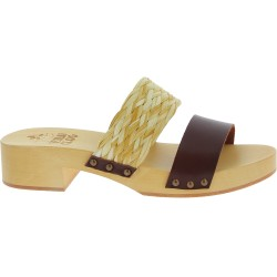 Wooden mules with dark brown leather and rafia band Handmade