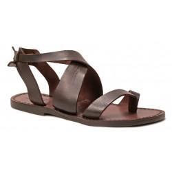 Sandalias de las mujeres en marrón oscuro cuero hecho a mano en Italia