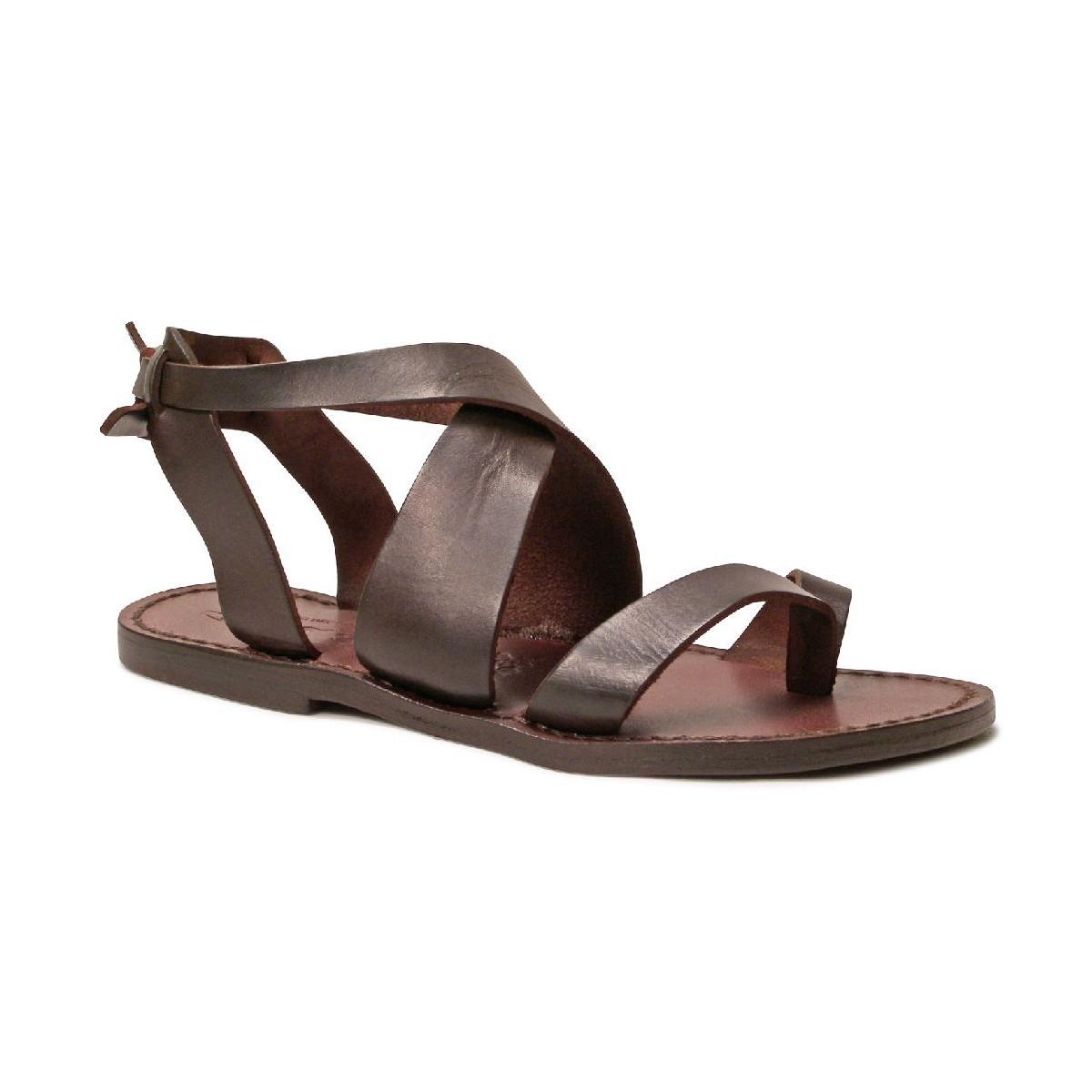 damen sandalen aus dunkelbraunem leder in italien von. Black Bedroom Furniture Sets. Home Design Ideas