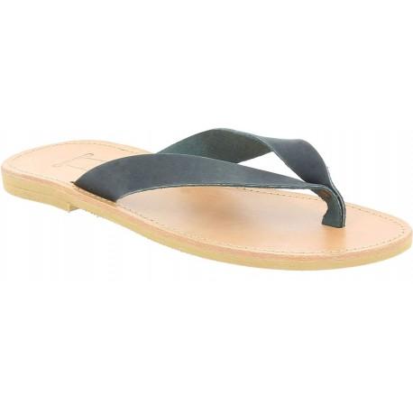 Men's handmade slip-on thong sandals in black nubuck leather