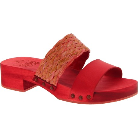 Red mules with leather and rafia band Handmade