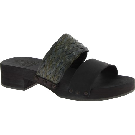 Black mules with leather and rafia band Handmade