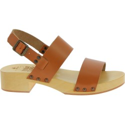 Women's clogs with light brown leather bands Handmade