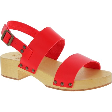 Clogs holz Damen mit rot Lederband Handgefertigte
