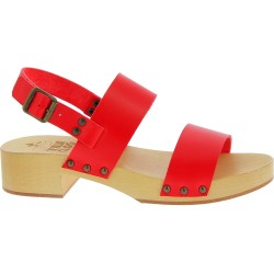 Wood clogs for women with red leather bands Handmade