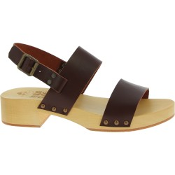 Wood clogs for women with dark brown leather bands Handmade