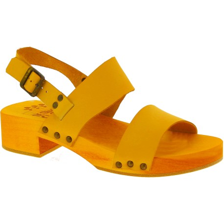 Yellow mules with leather and rafia band Handmade