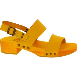 Yellow clogs with genuine leather band Handmade