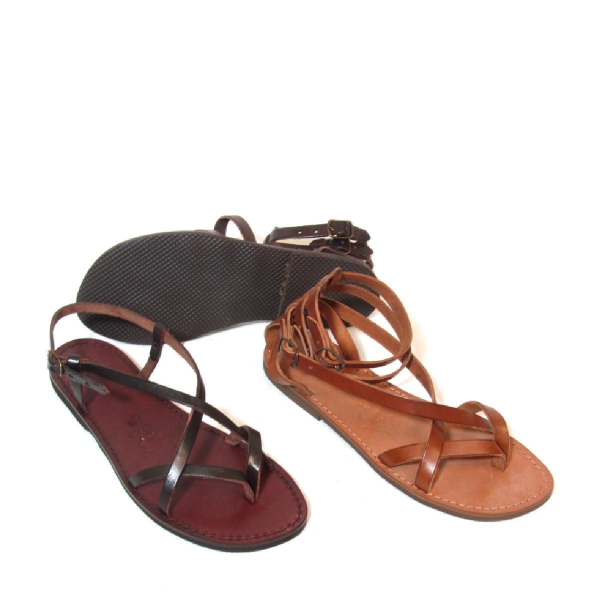 sandali gladiatore fatti a mano in pelle colore testa di moro con suola in gomma - Sandale Colore