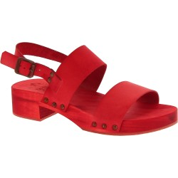 Red mules with genuine leather band Handmade