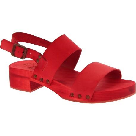 Rot Mules für Damen mit echtes Lederband Handgefertigte
