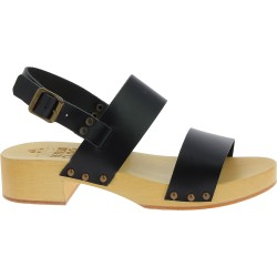 Wooden heel clogs with black leather bands Handmade
