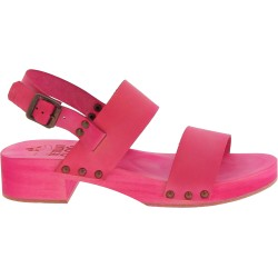 Pink wooden clogs with genuine leather band Handmade