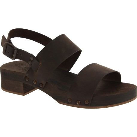 Dark brown wooden clogs with genuine leather band Handmade