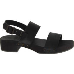 Black clogs with genuine leather band Handmade