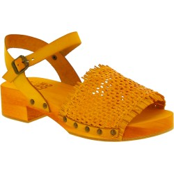 Yellow clogs with genuine woven leather band Handmade