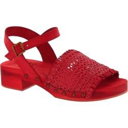 Sandali zoccoli legno rosso con fascia in pelle intrecciata artigianali