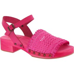 Pink wooden clogs with woven genuine leather band Handmade