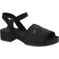 Clogs Damen schwarz mit gewebte echtes Lederband Handgefertigte