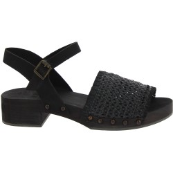 Black clogs with woven genuine leather band Handmade