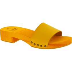 Women's clog slippers yellow with leather band Handmade