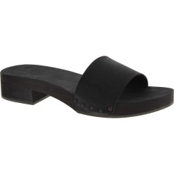 Black women's clog slippers with leather band Handmade