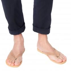 Sandalias de tiras para hombre en cuero nobuck marron hechas a mano