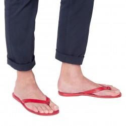 Sandalias de cuero rojo para hombres hechas a mano