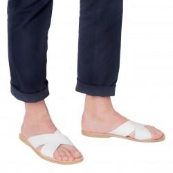 Men's white leather slipper sandals handmade in Italy