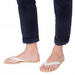 Handgefertigte weiß Leder-Sandaletten für Männer