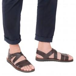 Handmade in Italy men's sandals in dark brown leather