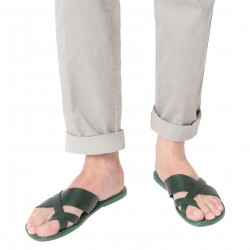 Handmade green leather thongs sandals for men