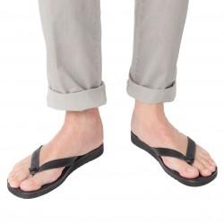 Herren-Sandalen mit schwarz Leder-Reimen mit dicker Gummisohle