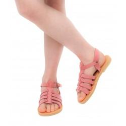 Sandalo da bambina in morbida pelle nubuck rosa chiusura con fibbia