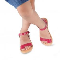 Sandales tongs pour fille en cuir de veau fuchsia avec fermeture à boucle