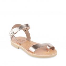 Sandales tongs pour fille en cuir de veau or rose avec fermeture à boucle