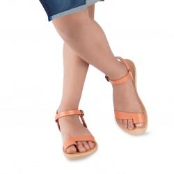 Sandali infradito da bambino in pelle di vitello arancione chiusura con fibbia