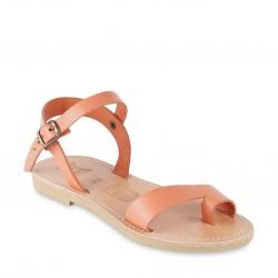 Sandalen für Kinder aus orangefarbenem Kalbsleder mit Schnallen verschluss