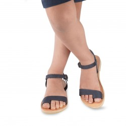 Child's thong sandals in blue nubuck leather with buckle closure