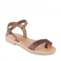 Child's thong sandals in dark brown nubuck leather with buckle closure