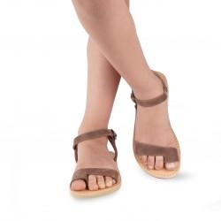 Sandali infradito da bambino in pelle nubuk marrone scuro chiusura con fibbia